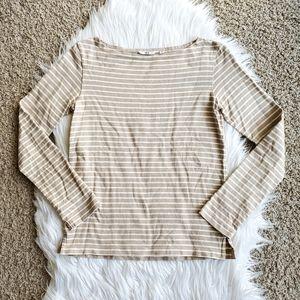 Uniqlo Tan White Stripe Wide Neck Long Sleeve Top